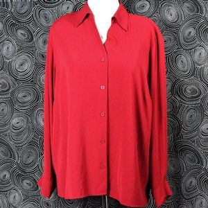 Notations Red Long Sleeve Button-Down Top